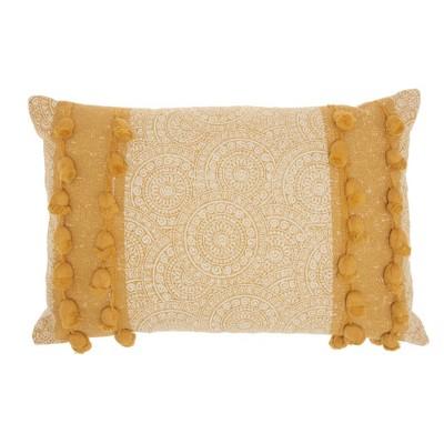 "16""x24"" Life Styles Mandala Pom Poms Throw Pillow Mustard - Mina Victory"