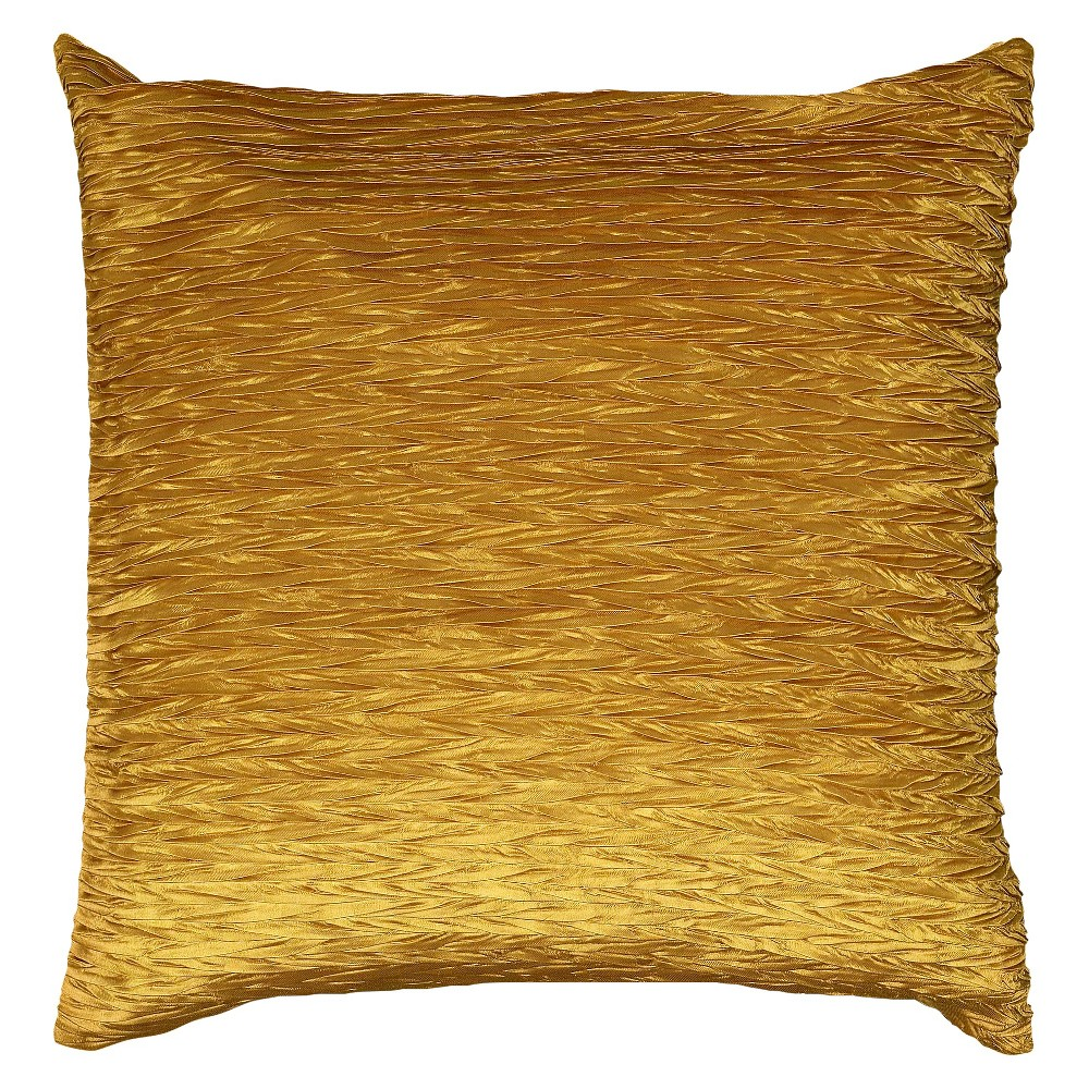 "Image of ""Gold Solid Textured Throw Pillow 18""""x18"""" - Rizzy Home"""