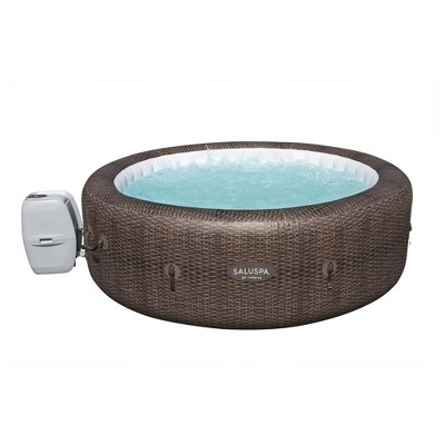 Bestway SaluSpa St Moritz 85 x 28 Inch 5 to 7 Person Outdoor Inflatable Portable AirJet Hot Tub Pool Spa with Cover, Pump, and Filter, Brown