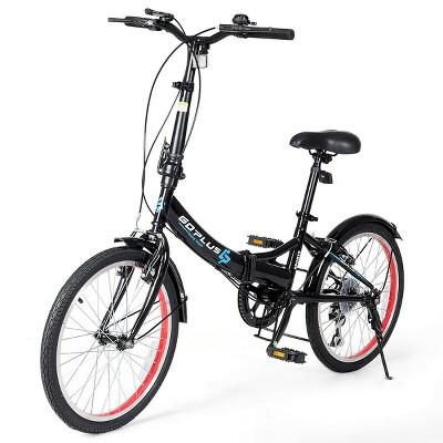 Costway 20'' Lightweight Adult Folding Bicycle Bike w/ 7-Speed Drivetrain Dual V-Brakes