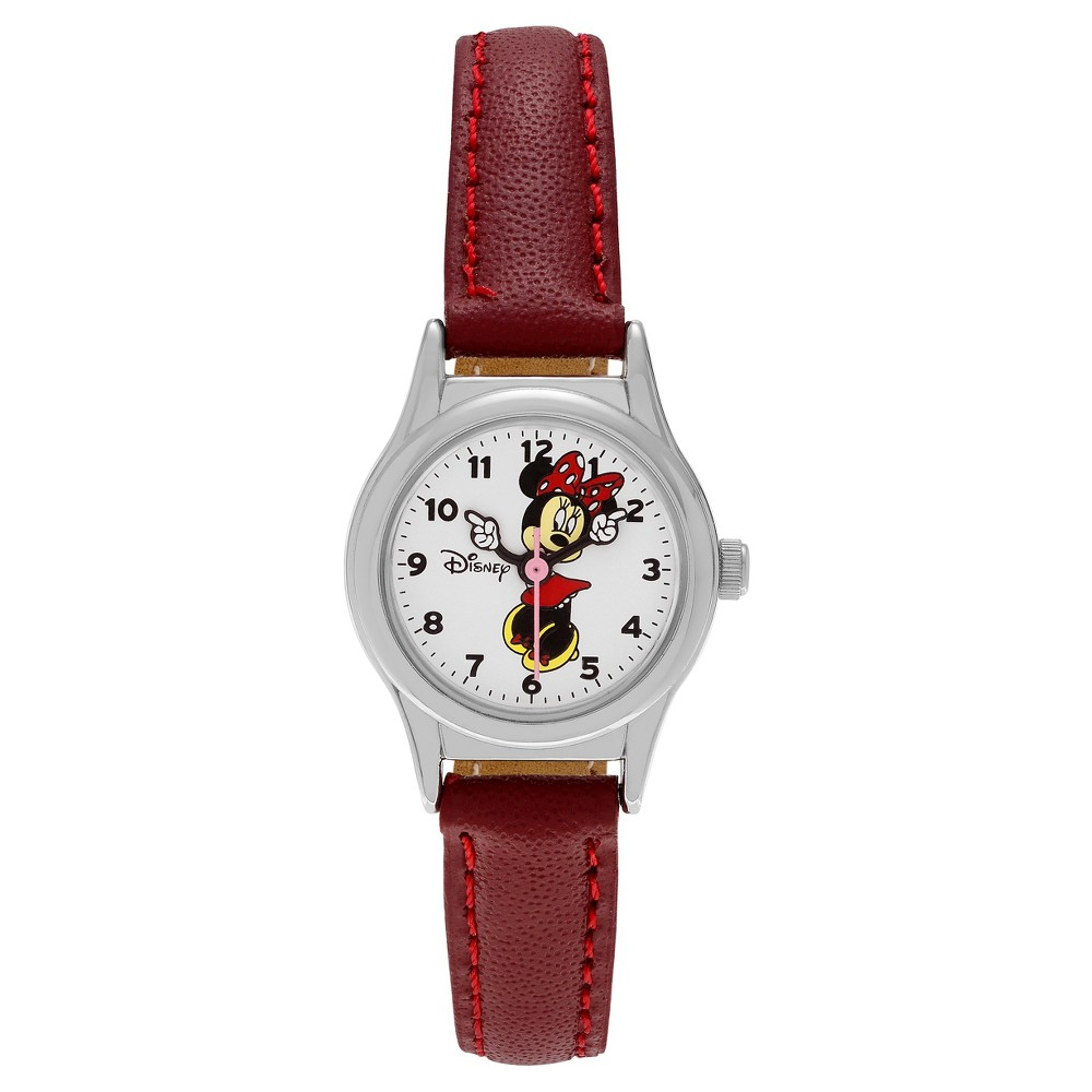 Women's Disney Minnie Mouse Dial Faux Leather Strap Watch - Red