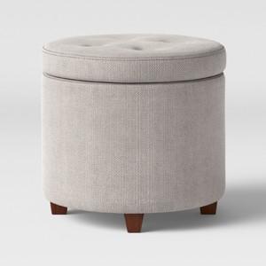 Round Tufted Storage Ottoman Textured Weave Gray - Threshold