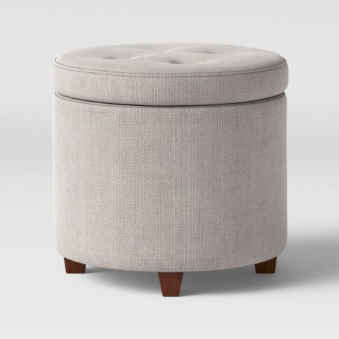 Brilliant Round Tufted Storage Ottoman Textured Weave Gray Threshold Andrewgaddart Wooden Chair Designs For Living Room Andrewgaddartcom