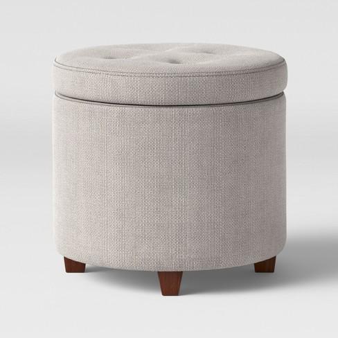 Remarkable Round Tufted Storage Ottoman Textured Weave Gray Threshold Squirreltailoven Fun Painted Chair Ideas Images Squirreltailovenorg