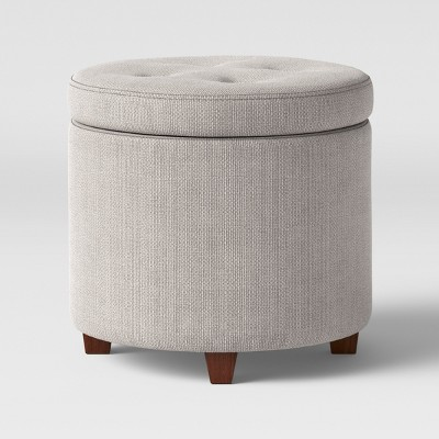 Superbe Round Tufted Storage Ottoman Gray Textured Weave   Threshold™
