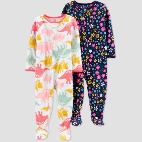 Toddler Girls' Floral Dino Fleece One Piece Pajama - Just One You® made by carter's Pink - image 1 of 1