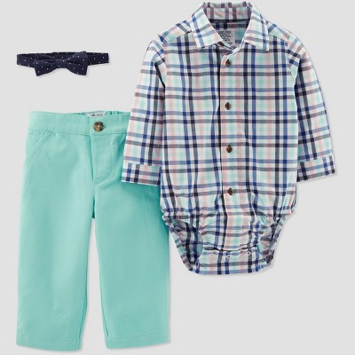 Baby Boys' Plaid Pant Set - Just One You® made by carter's Blue/Mint 3M