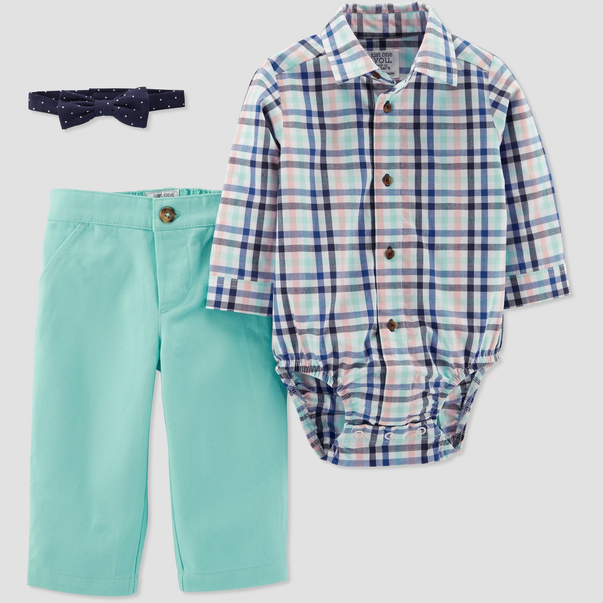 Baby Boys' Plaid Pant Set - Just One You made by carter's Blue/Mint 24M