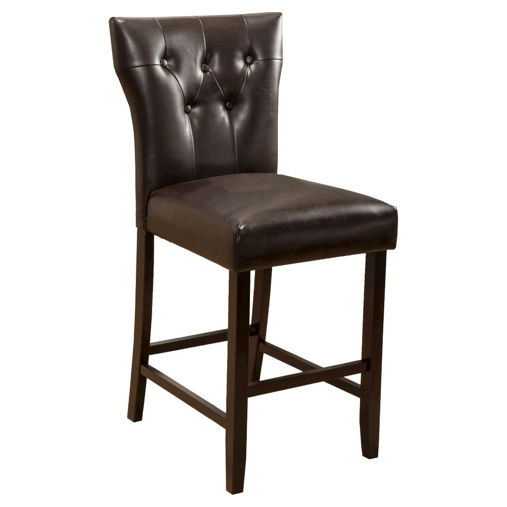 """Image of """"24.25"""""""" Donner Counter Stool (Set of 2) - Brown Reconstituted Leather - Christopher Knight Home"""""""
