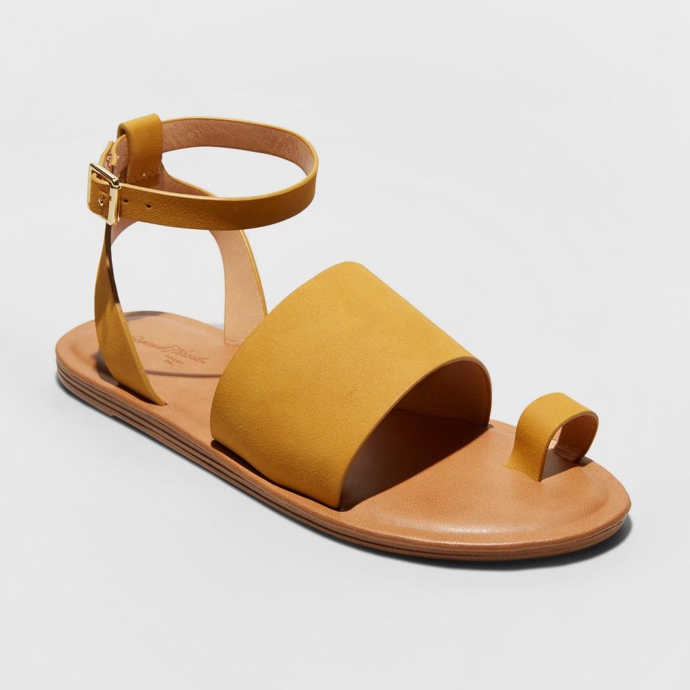 Women's Kenya Wide Width Ankle Strap Sandals - Universal Thread Yellow 6W, Size: 6 Wide