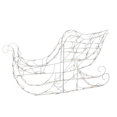 """Brite Star 48"""" Lighted White Sleigh Outdoor Christmas Decoration - Clear Lights"""