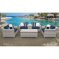 TK Classics 6-Piece Fairmont Patio Seating Set with Cushions (Navy)