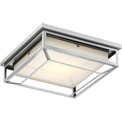 """Possini Euro Design Modern Outdoor Ceiling Light Fixture LED Matte Nickel 12"""" Frosted Bonded Glass Damp Rated for Exterior House"""