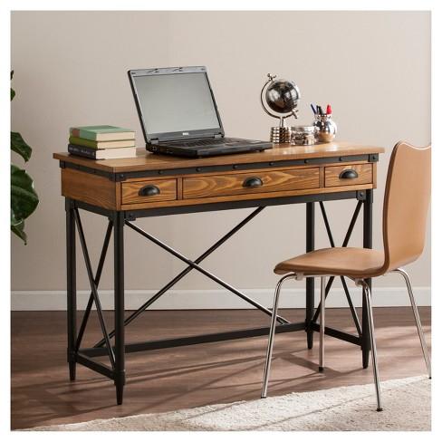 Luthier 2 Drawer Writing Desk With Keyboard Tray Oak Aiden Lane Target
