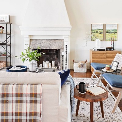 Classic, Neutral Tone Living Room with Fireplace styled by Emily Henderson