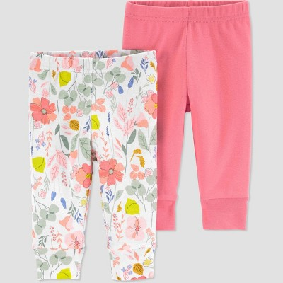 Baby Girls' 2pk Butterfly and Floral Pull-On Pants - Just One You® made by carter's Pink 3M