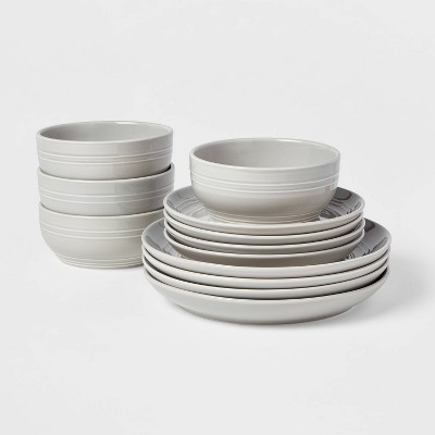12pc Stoneware Westfield Dinnerware Set Gray - Threshold™