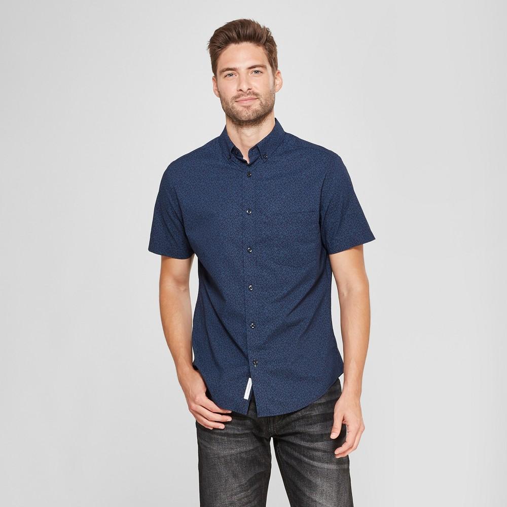 Men's Short Sleeve Soft Wash Slim Fit Button-Down Shirt - Goodfellow & Co Blue Foil L