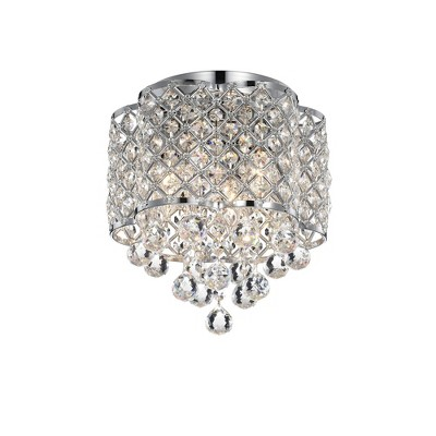 "13"" x 13"" x 10"" Crystal and Metal Orchid Jannings Ceiling Light with Drum Shade Silver - Warehouse Of Tiffany"