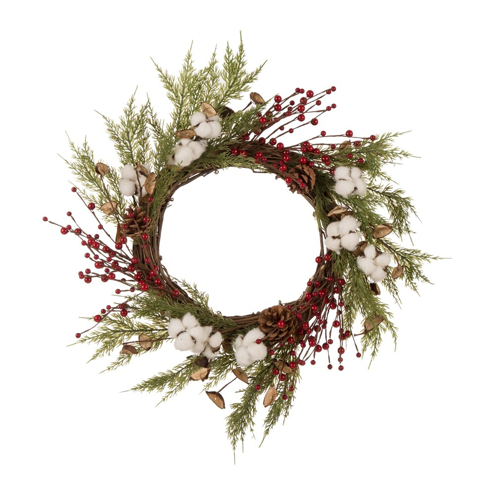 "Image of ""22"""" Cotton Berries Wreath Green - Glitzhome"""