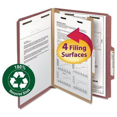 "Smead Pressboard Classification Folder 1 Divider 2"" Exp. 2/5 Cut Ltr Red 10/Box 13724"