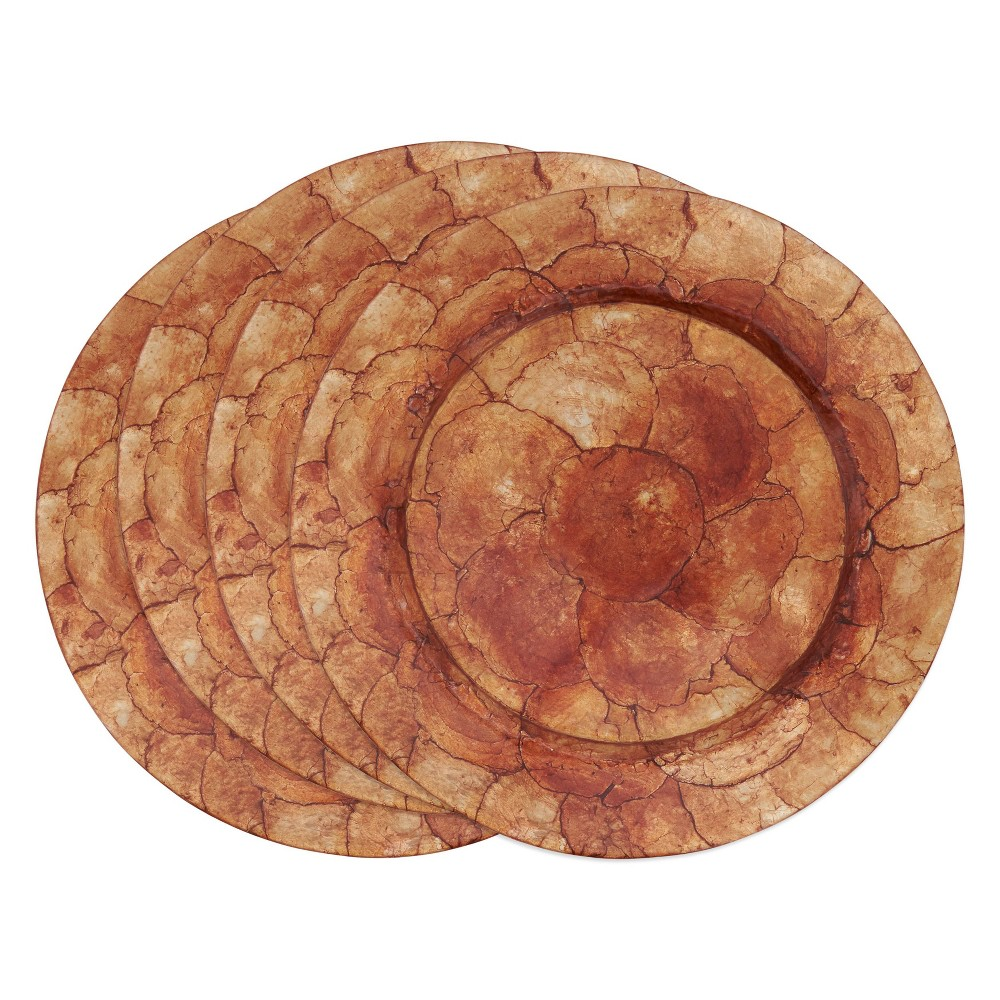 Image of 4pk Capiz Shell Charger Plates Brown - Saro Lifestyle