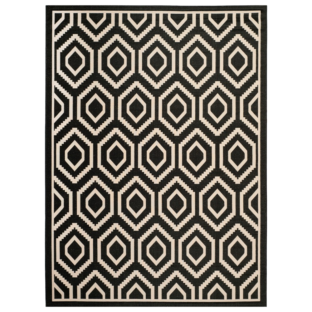 Biarritz Rectangle 8' X 11' Outer Patio Rug - Black / Beige - Safavieh