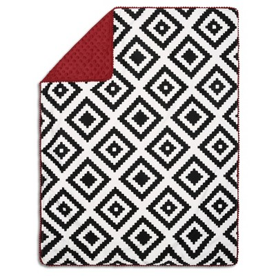 The Peanutshell Pompom Baby Blanket - Red/Black Tile