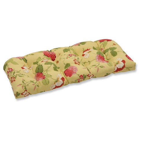 Outdoor Wicker Loveseat Cushion - Yellow/Red Floral - Pillow Perfect - image 1 of 1