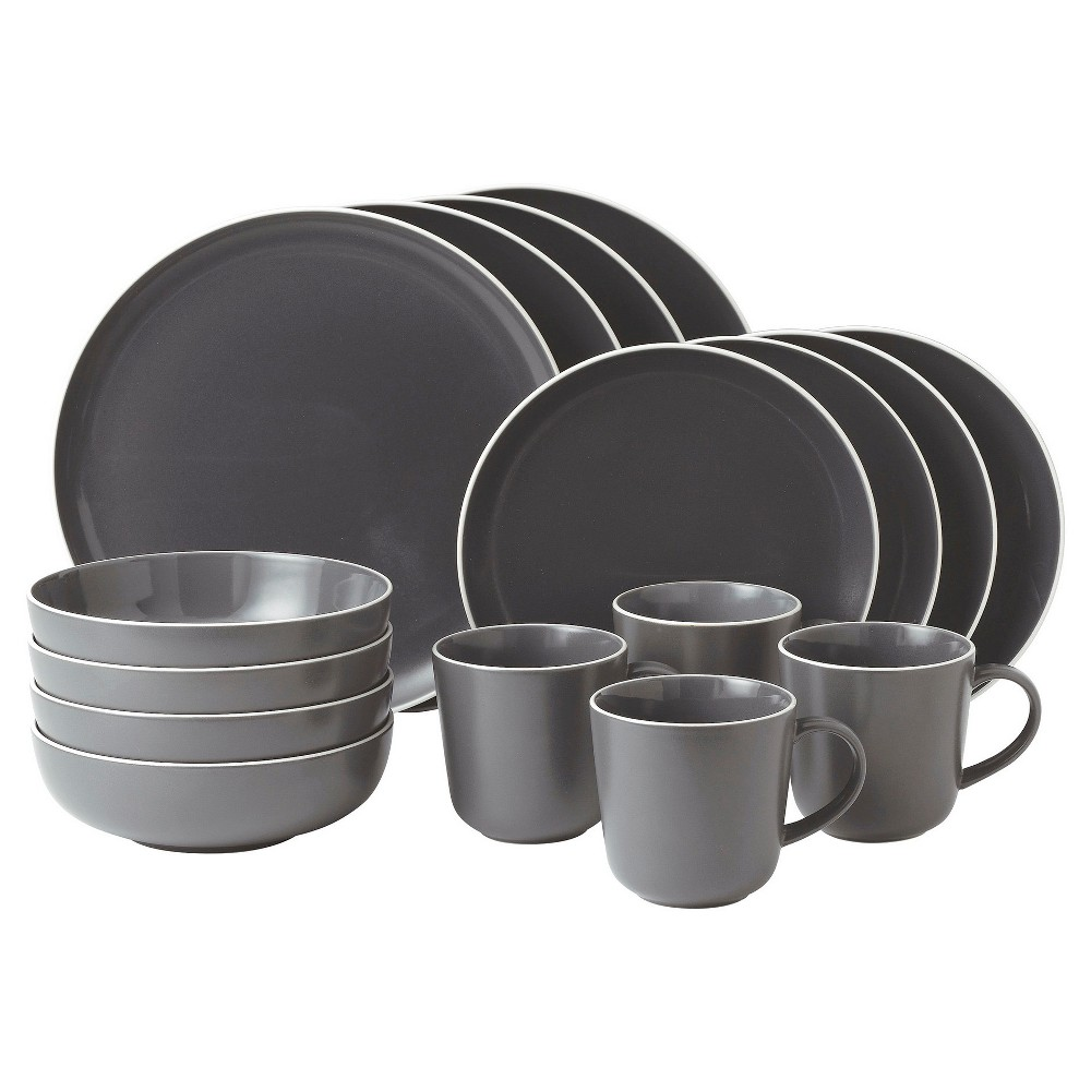 Image of Gordon Ramsay by Royal Doulton Bread Street Stoneware 16pc Dinnerware Set Slate, White Gray