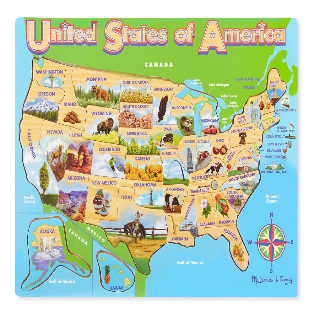 Melissa & Doug USA Map Wooden Jigsaw Puzzle 45pc