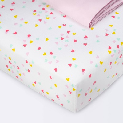 Crib Fitted Sheets Hearts and Pink Solid - Cloud Island™ Pink 2pk