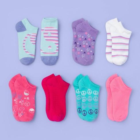 Girls' 7pk No Show Peace Sign Print Socks - More Than Magic™ - image 1 of 2