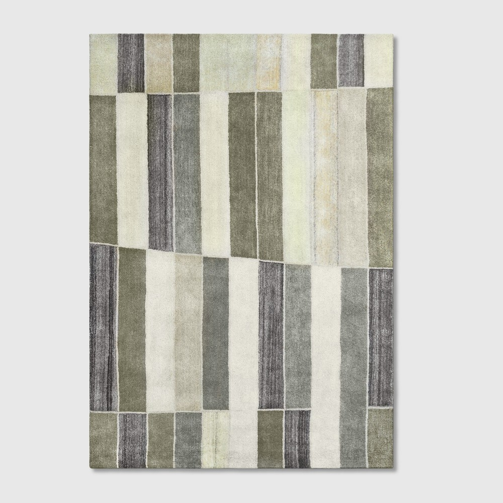 7'x10' Blocks Striped Tufted Area Rug Green/Gray - Project 62 was $399.99 now $199.99 (50.0% off)