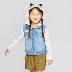 Toddler Girls' Hooded 'Cat' Denim Jacket - Cat & Jack™ Blue/Gray