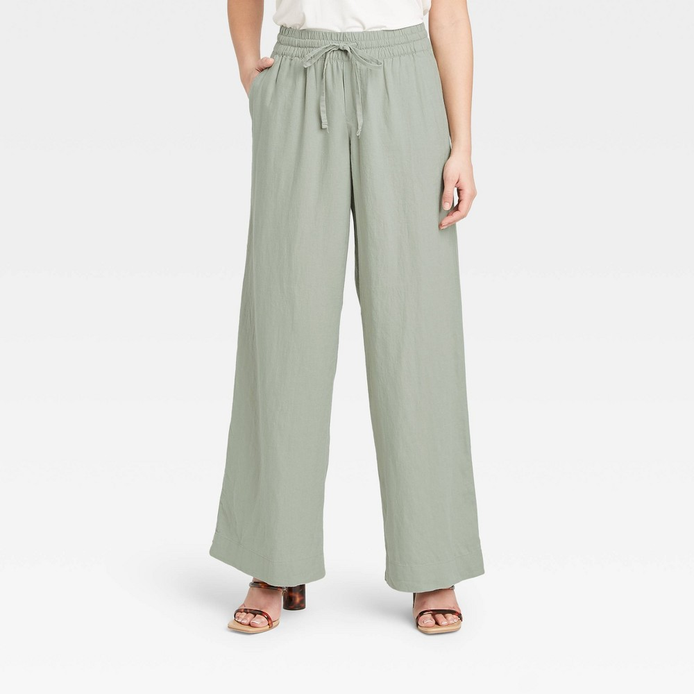 Women 39 S Mid Rise Relaxed Fit Pants A New Day 8482 Green S