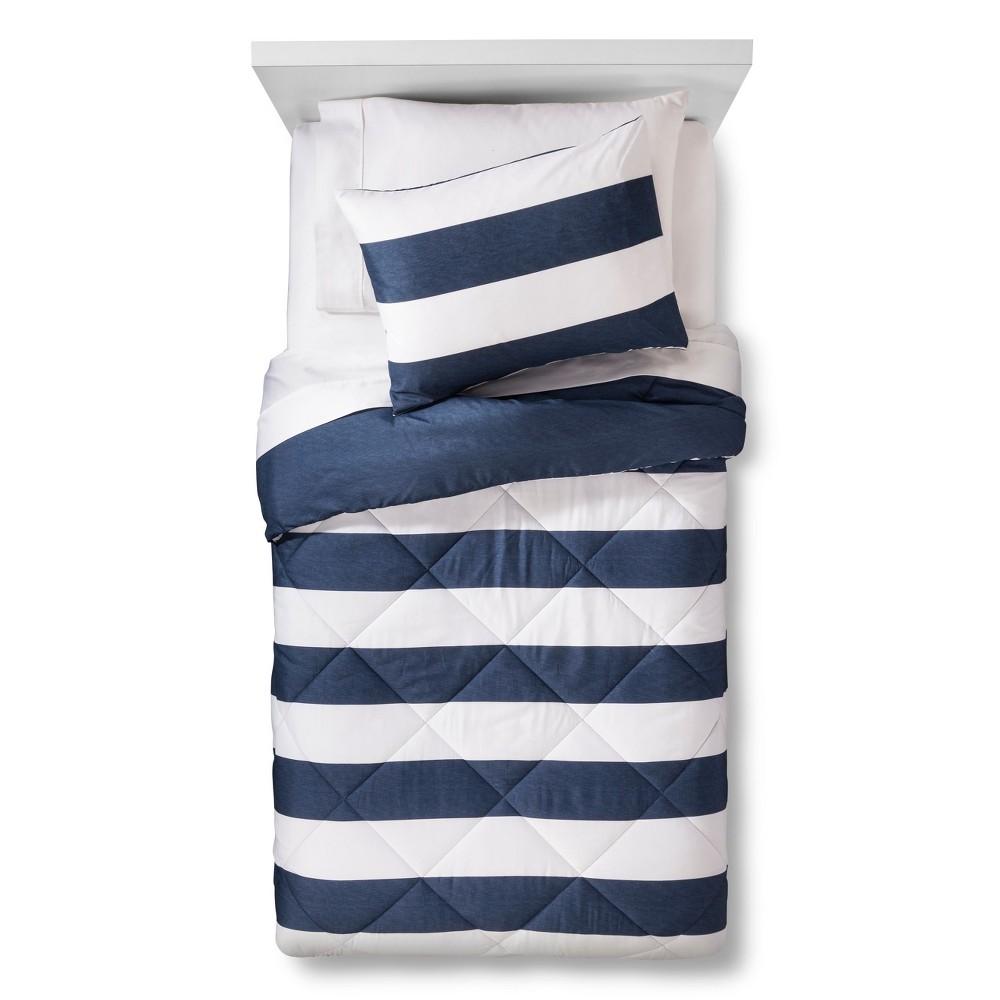 Rugby Stripe Comforter Set (Full/Queen) Blue/White 3pc - Pillowfort