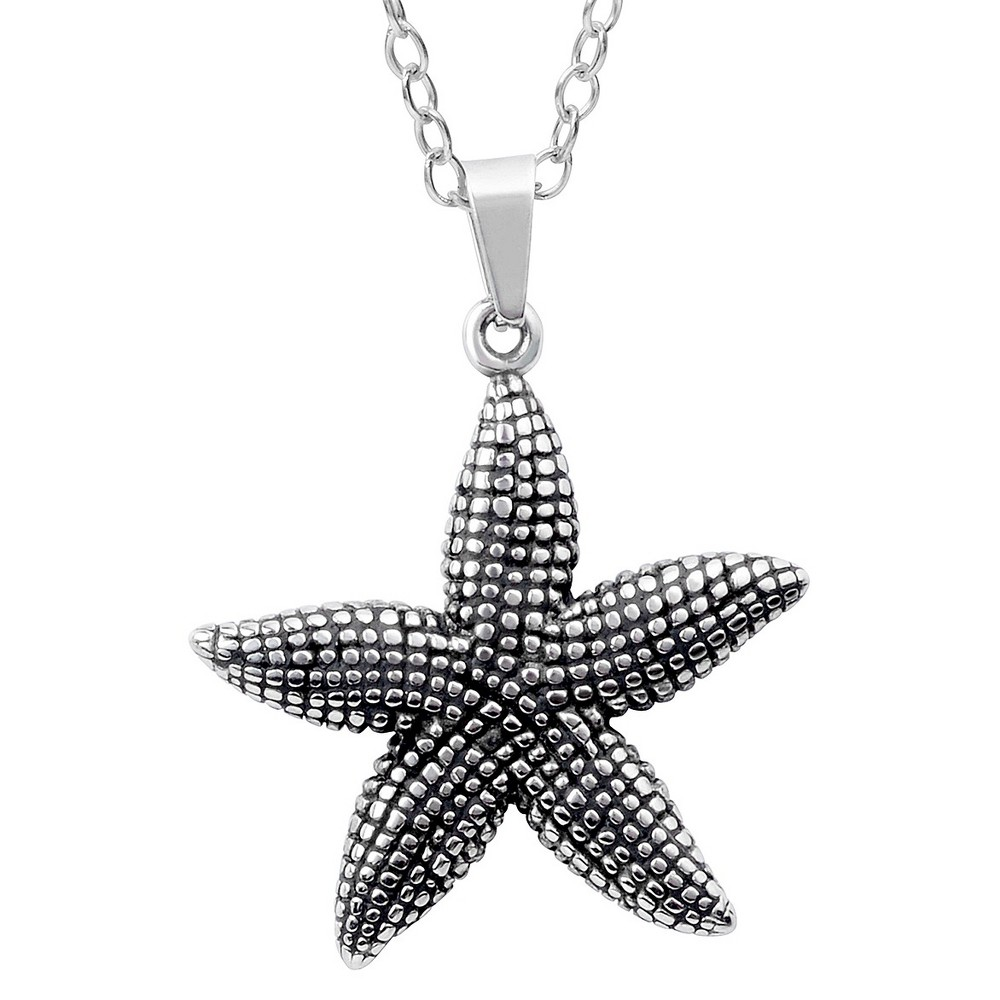 Women's Journee Collection Textured Star Fish Pendant Necklace in Sterling Silver - Silver (18)