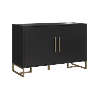Herringbone Console Unit Black - CosmoLiving by Cosmopolitan