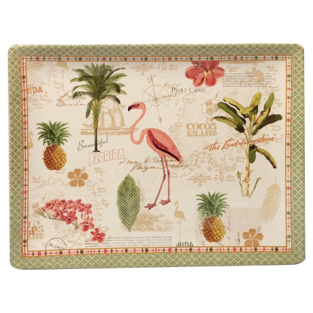 Certified International Floridian by Katie Pertiet Rectangle Ceramic Serving Platter 16''x12'' Green