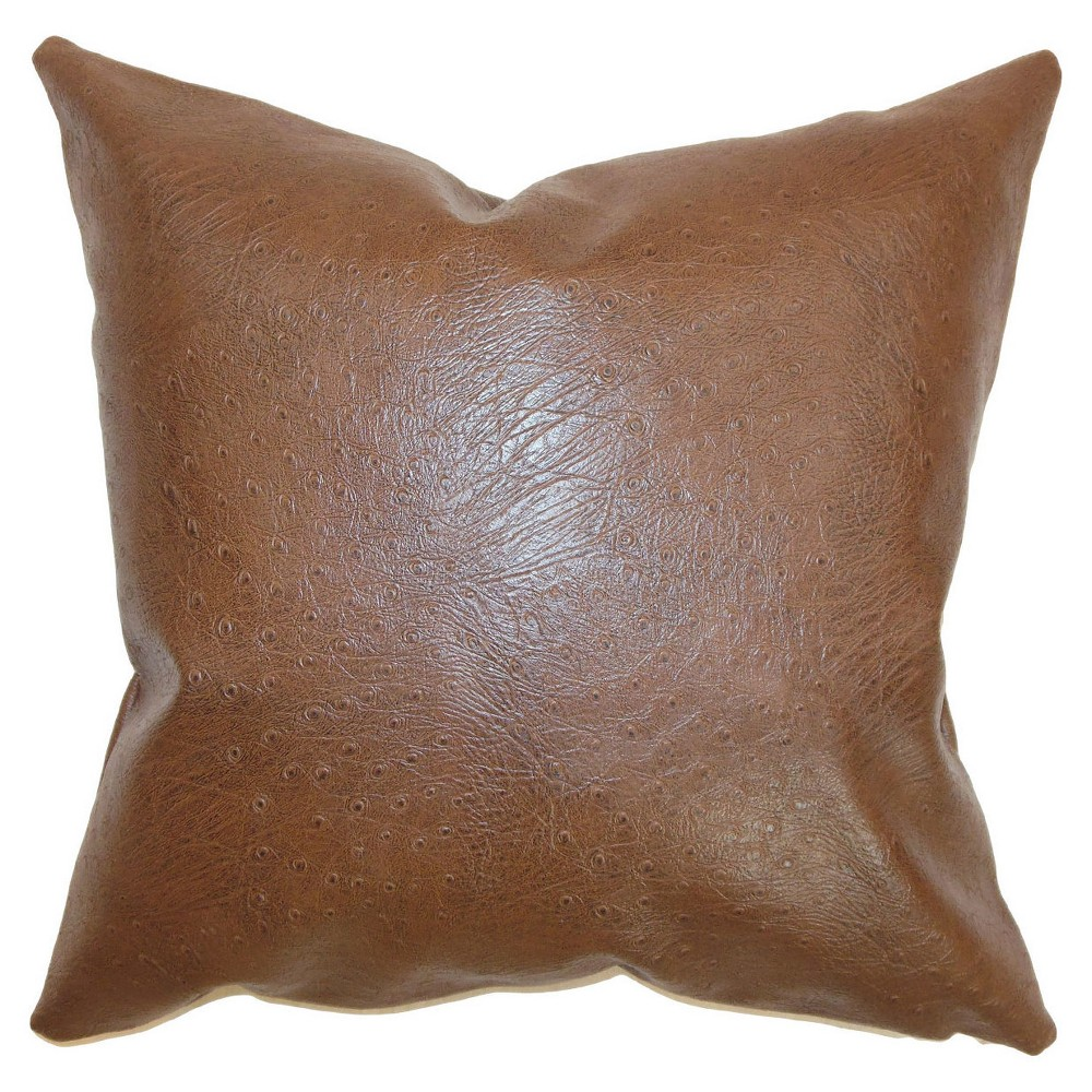 Brown Faux Leather Square Throw Pillow (20