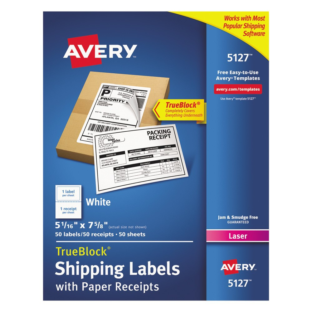 Avery Shipping Labels with Pa Receipt, 5 1/16 x 7 5/8, White, 50pk Don't wait in line at the post office when you can go online and get your packages ready to ship with our shipping labels with paper receipts. These labels work with most popular shipping software and services such as Ups, FedEx, Stamps.com Online Postage and both Usps Click-N-Ship and Shipping Assistant. Efficient design combines the shipping label and paper receipt onto one sheet, so you'll never have to waste another label to print the receipt. Powerful TrueBlock Technology is guaranteed to completely cover up everything underneath so you can reuse boxes, large envelopes and mailing tubes. Easy to customize with free templates from Avery Design and Print. Shipping has never been easier. This product was made using wood sourced from a certified managed forest. Label Size - text: 5 1/16 x 7 5/8; Label Color(s): White; Machine Compatibility: Inkjet Printers; Laser Printers; Sheet (W x L): 8 1/2 x 11. Age Group: Adult.