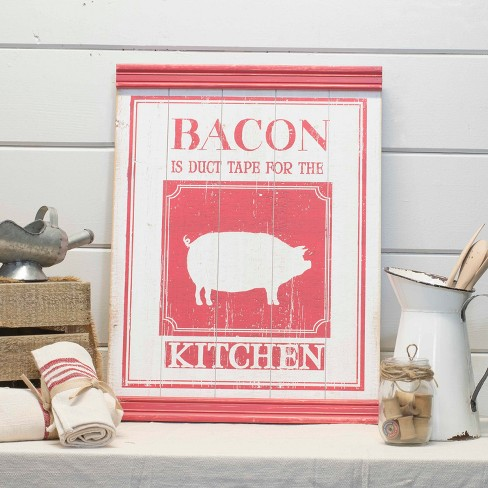"Wood ""Bacon"" Wall Sign Panels Red 23.6"" x 17.7"" - VIP Home & Garden - image 1 of 1"