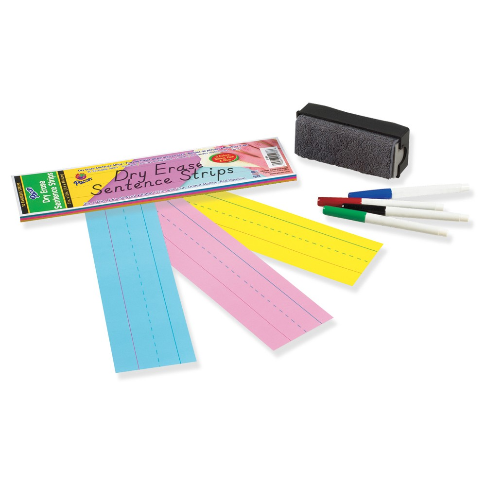 Image of Pacon Dry Erase Sentence Strips, 12 x 3, Assorted, 20 per Pack