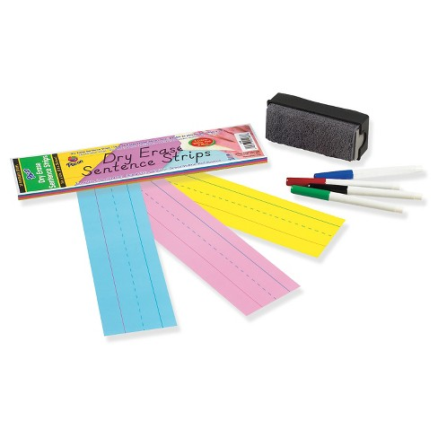 Pacon Dry Erase Sentence Strips, 12 x 3, Assorted, 20 per Pack - image 1 of 1