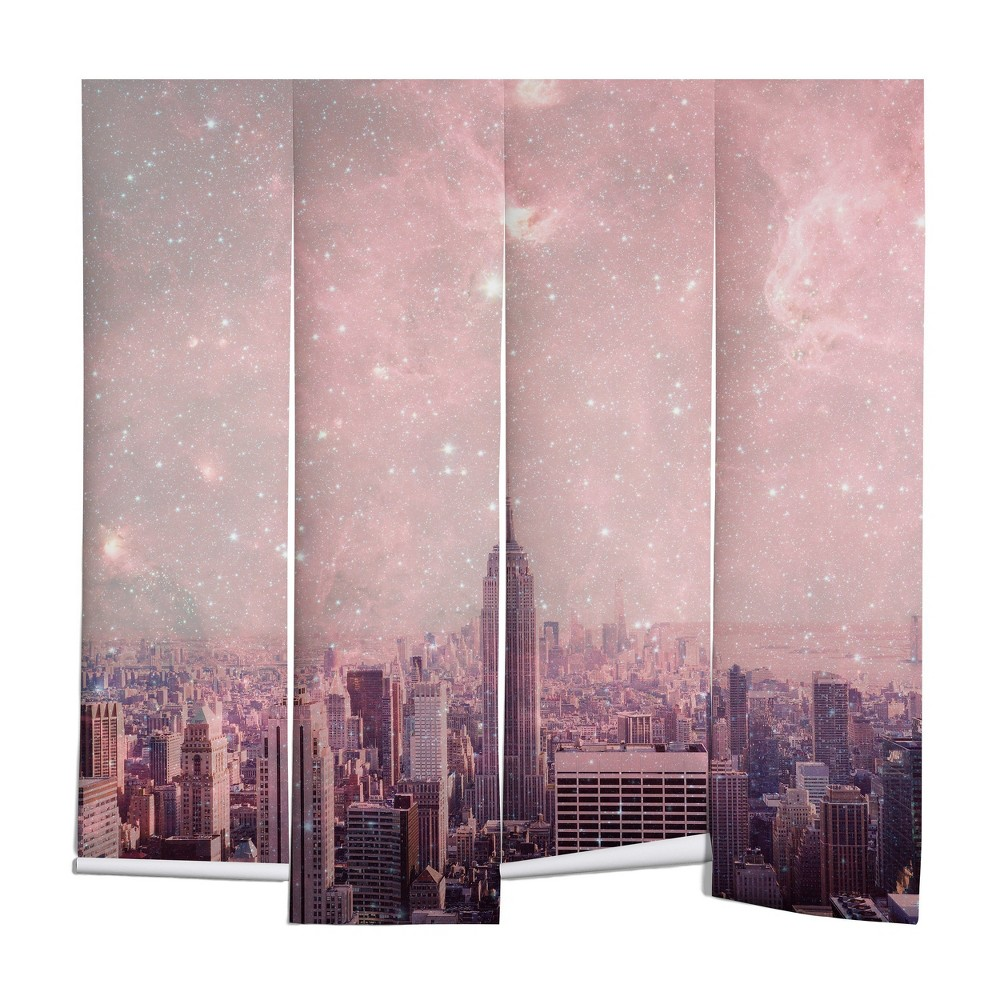 "Image of ""8""""x8"""" Bianca Green Stardust Covering New York Wall Mural Pink - Deny Designs, Size: 8'x8'"""