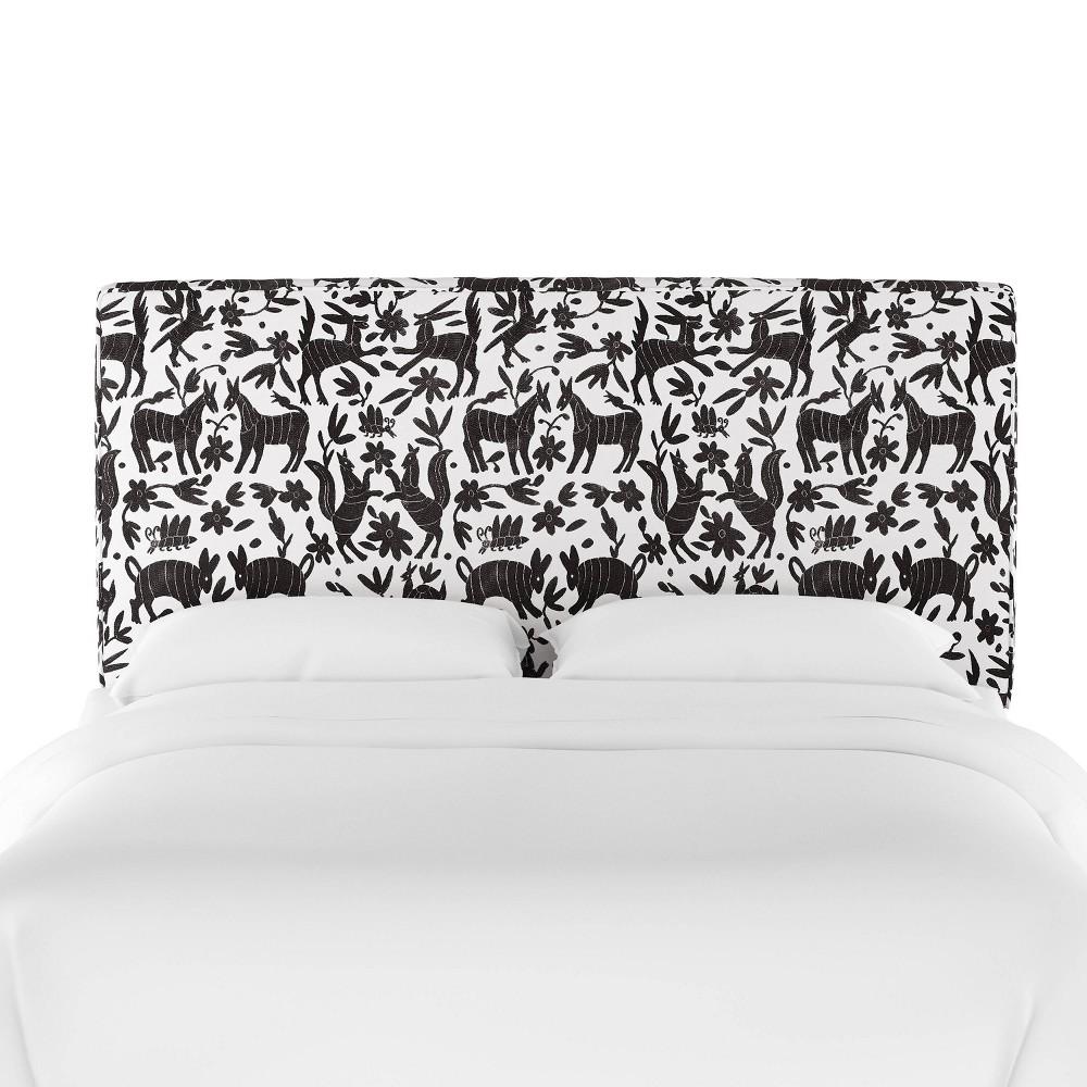 Full Box Seam Headboard In Pinata Tuxedo Black White Skyline Furniture