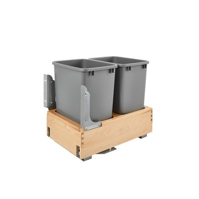 Rev-A-Shelf 4WCBM-18DM-2 Double 35-Quart Maple Bottom Mount Pullout Waste Container Trash Cans with Soft Open & Close Slide System, Silver