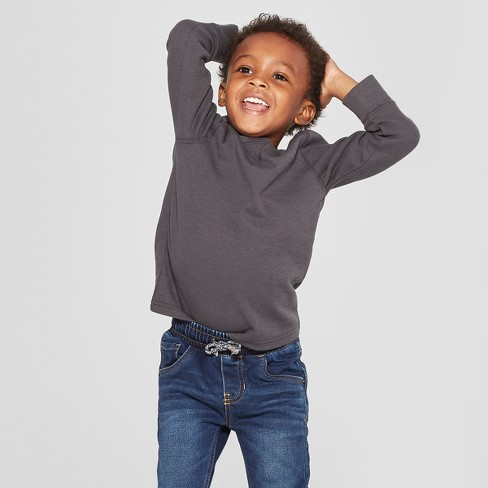 Toddler Boys' Thermal Long Sleeve T-Shirt - Cat & Jack™ Charcoal - image 1 of 3