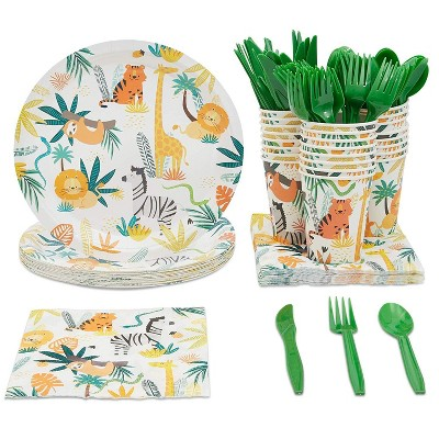 Serves 24 Safari Jungle Zoo Theme Party Supplies Plates, Cups, Napkins, Utensils